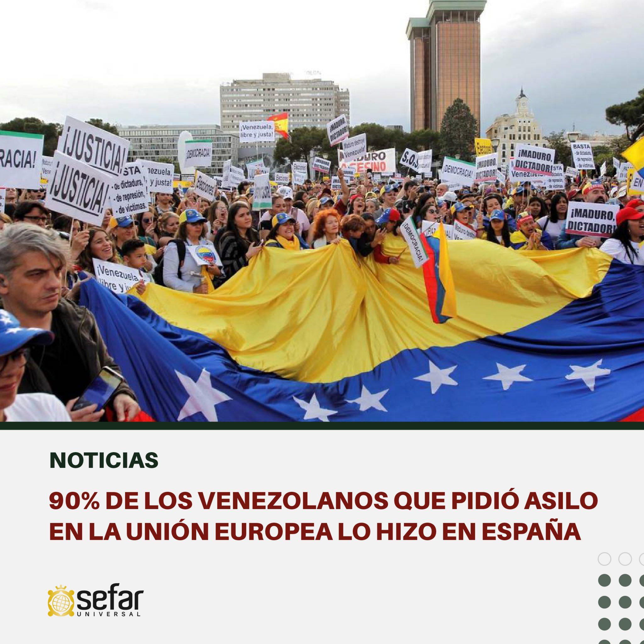 90% de los venezolanos que pidió asilo en la Unión Europea lo hizo en España